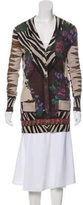 Etro Silk Blend Cardigan Brown Silk Blend Cardigan
