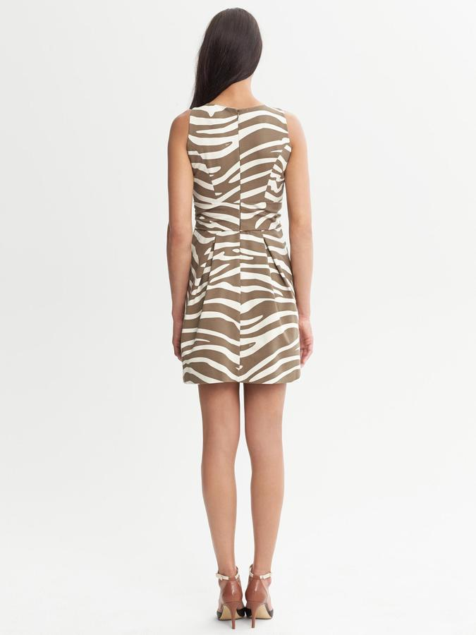 Issa Collection Olive Zebra Printed Ponte Dress