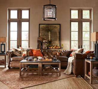 Pottery Barn Chesterfield Leather 4-Piece Reversible Grand Sectional