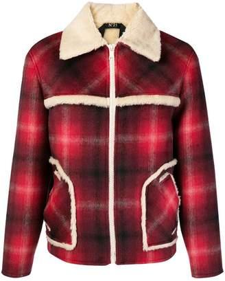 No.21 checked shearling jacket