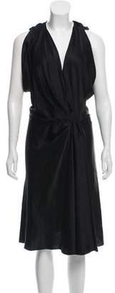 Balenciaga Draped Silk Midi Dress