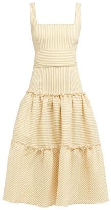 Luisa Beccaria Tiered Striped Linen Blend Midi Dress - Womens - Yellow Print