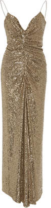 Monique Lhuillier Sequin Embellished Stretch Charmeuse Tea Length Gown