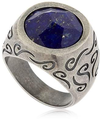Lapis Ara Engraved Silver Ring W Lazuli