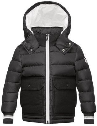Moncler Rabelais Hooded Wool-Trim Puffer Coat, Gray, Size 4-6 $485 thestylecure.com