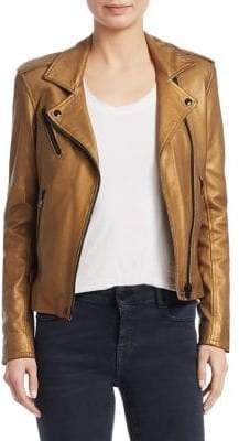 IRO Women's Newhan Cropped Leather Jacket - Gold - Size 34 (2)