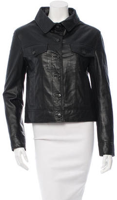 Vera Wang Button-Up Leather Jacket $265 thestylecure.com