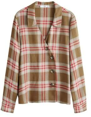 MANGO Asymmetrical check shirt