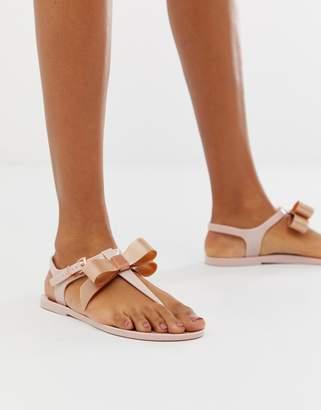 fd5af80bb9f8 Ted Baker pink teiya jelly sandal with rose gold bow