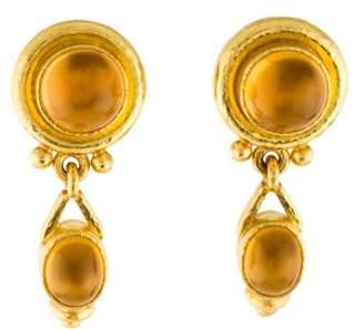 Elizabeth Locke 19K Citrine & Mother of Pearl Drop Earrings