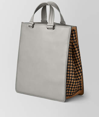 Bottega Veneta CEMENT INTRECCIATO CHECKER TOTE