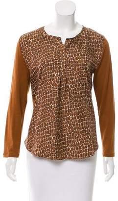 Gerard Darel Silk-Paneled Long Sleeve Top