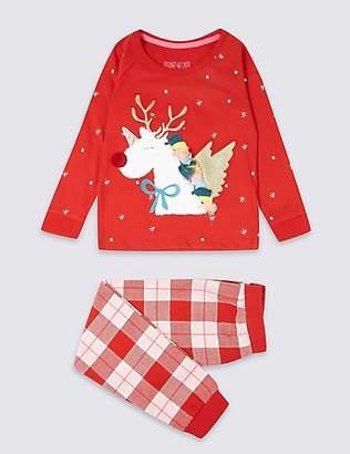 Marks and Spencer Pure Cotton Unicorn Pyjamas (1-7 Years)