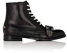 Gucci Men's Dionysus Buckle-Strap Leather Wingtip Boots - Black