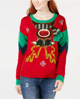 Hooked Up by Iot Juniors' Embellished Moose Sweater