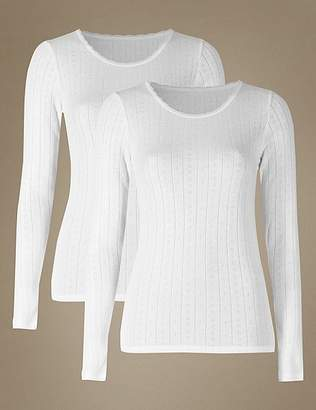 Marks and Spencer 2 Pack Thermal Long Sleeve Pointelle Tops