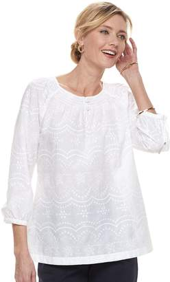 Croft & Barrow Women's Smocked Peasant Top