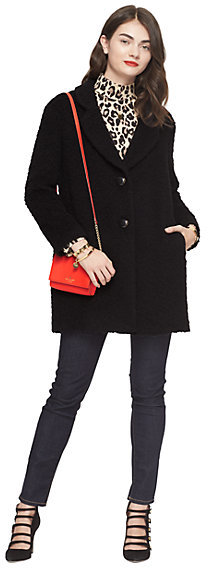 Kate Spade Fluffy wool bow coat