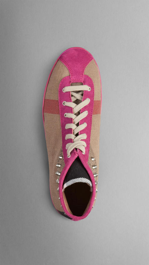 Burberry Stud Detail Check High-Top Trainers