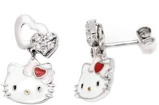 Hello Kitty Gem Stone King Sterling Silver Double Heart Bow Drop Earrings With Swarovski Crystal
