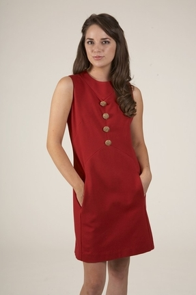 Corey Lynn Calter June Button Shift Dress in Ruby