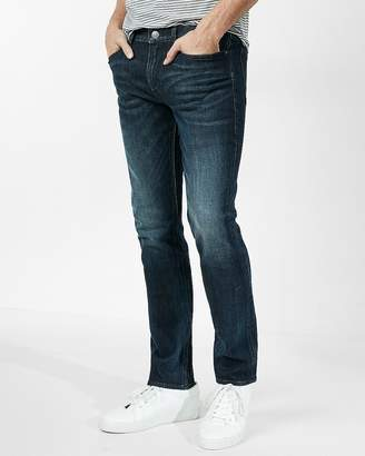 Express Slim Dark Wash Side Zip Stretch Jeans