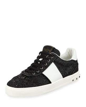 Valentino Glitter Strap Lace-Up Sneakers