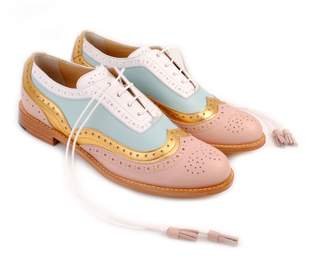 BEIGE Abo Gold Mint & White Dolly ABO Brogues