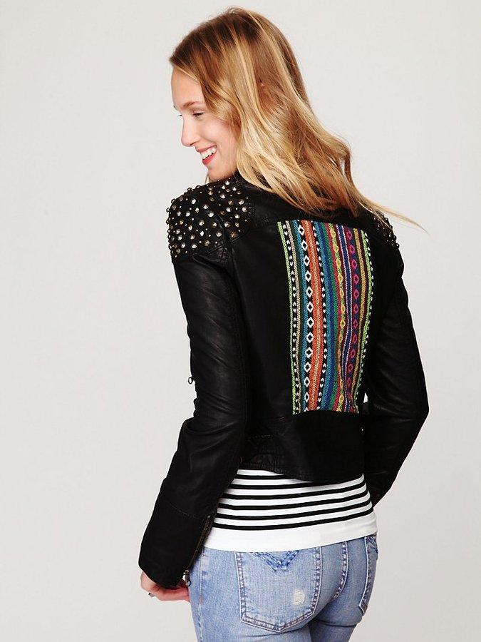 Free People Embellished Vegan Leather Motorcycle Jacket