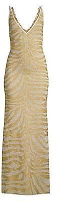 Herve Leger Women's Metallic Zebra V-Neck Gown