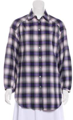 Vince Plaid Button-Up Top