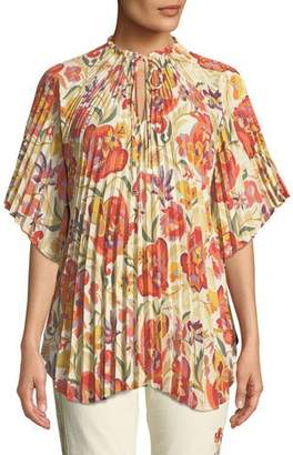 Etro Pleated Floral-Deco Print Poncho