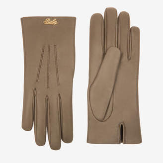 Bally Leather Gloves Brown, Women's lamb leather gloves in khaki