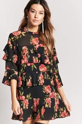 Forever 21 Pleated Floral Print Dress