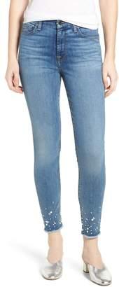 Jen7 Embellished Hem Ankle Skinny Jeans