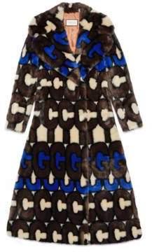 Gucci stripe faux fur coat