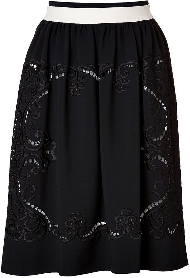 Preen by Thornton Bregazzi Talon Skirt in Black/Ivory