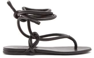 Jil Sander Wraparound Ankle Strap Leather Sandals - Womens - Black