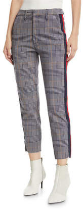 Mother The Shaker Prep Fray Plaid Ankle Pants with Stripes