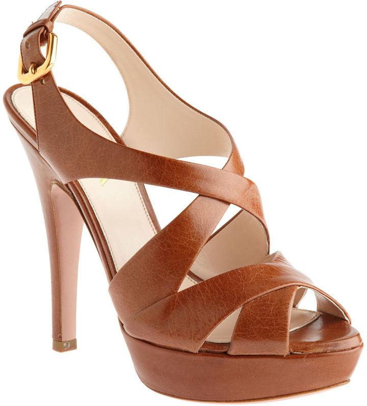 PRADA Criss-Cross Sandal - Brown
