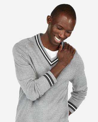 Express Stripe V-Neck Sweater