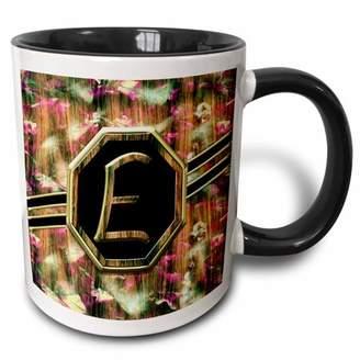3dRose Elegant Pink Camouflage Monogram Letter E Faux Gold Wood Grain Image - Two Tone Black Mug, 11-ounce