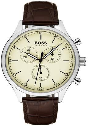 BOSS Men's Companion Chronograph Crocodile Embossed Leather Strap Watch, 42mm