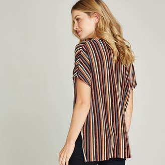 dea4e277 Apricot Multicoloured Striped Plisse Top