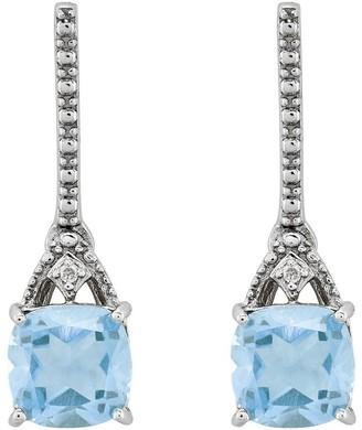 Sterling 1.45 cttw Aquamarine & Diamond AccentEarrings