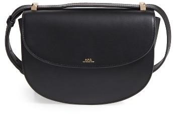 A.p.c. Designer Geneve Leather Crossbody Bag - Black