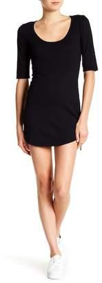 Pam & Gela 3/4 Sleeve Scoop Neck Side Tie Dress