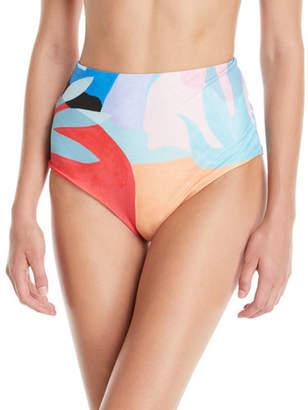 Mara Hoffman Lydia High-Waist Brushed Colorblock Bikini Bottoms