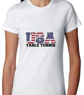 Hollywood Thread USA Olympics - Table Tennis - Vintage Letters Women's Cotton T-Shirt