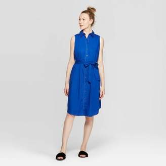 Who What Wear Women's Sleeveless Collared Front Button-Down Shirtdress Blue